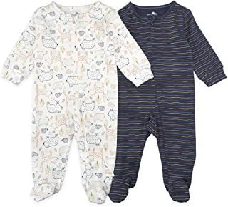 Baby Boy Sleeper Set, 2-Pack Bear Print Footed Sleep and Play Pajamas, 3 Month White, Navy