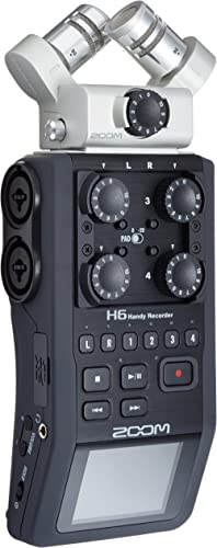 Zoom H6 6-Track Portable Recorder, Stereo Microphones, 4 XLR/TRS Inputs, Records to SD Card, USB Audio Interface, Bat...