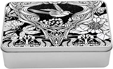 Lunarable Art Nouveau Tin Box, Antique Bird Ornaments at Night Leaves Wild Flowers Illustration, Portable Rectangle Metal Org