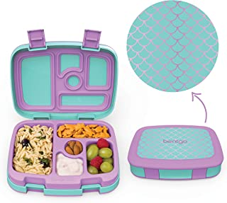 Bentgo Kids Prints (Mermaid Scales) - Leak-Proof, 5-Compartment Bento-Style Kids Lunch Box - Ideal Portion Sizes for Ages 3 to 7 - BPA-Free and Food-Safe Materials