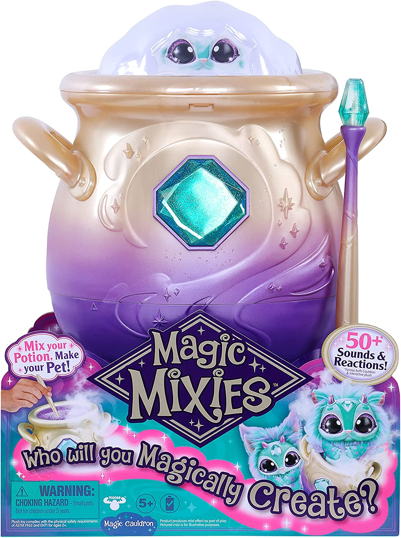 Magic Mixies Magical Misting Cauldon与交互式8英寸蓝色毛绒玩具和50多个声音和反应