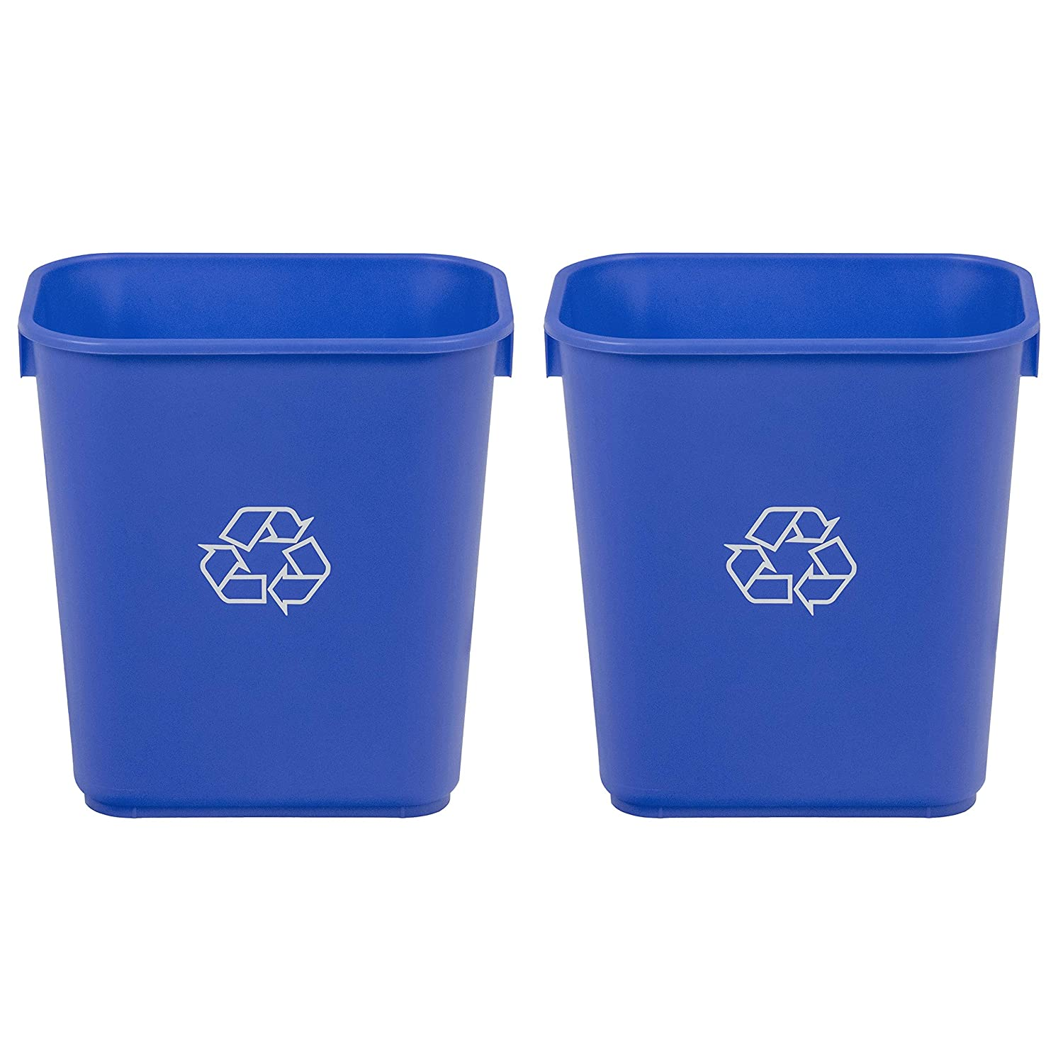 AmazonCommercial 3 Gallon Commercial Office Wastebasket, Blue w/Recycle Logo, 2-Pack