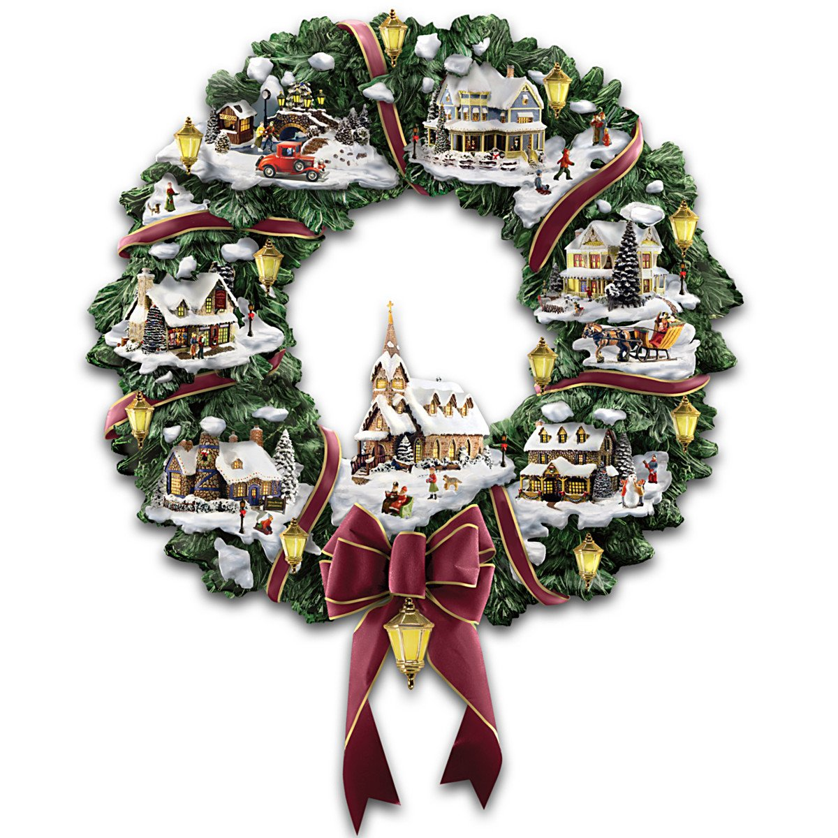 Image of Thomas Kinkade Christmas Village Wreath with Lights