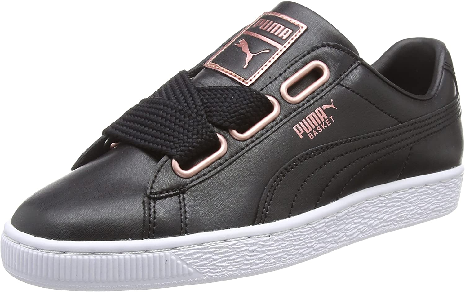 PUMA Women's Basket Heart Leather WN's Low-Top Sneakers Black pink gold