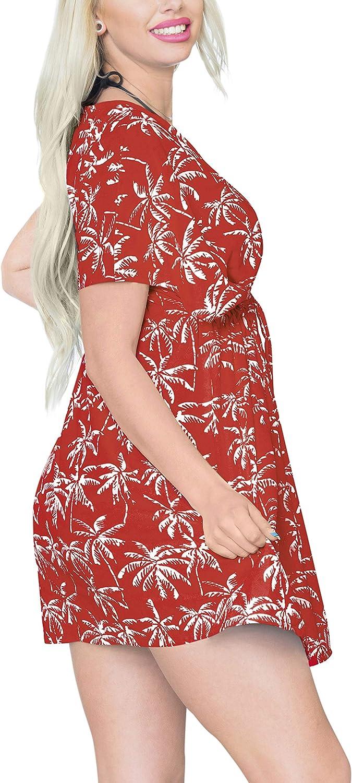 LA LEELA Women's Bikini Solid Plain Swimsuit Cover Up Beachwear Summer Dresses E
