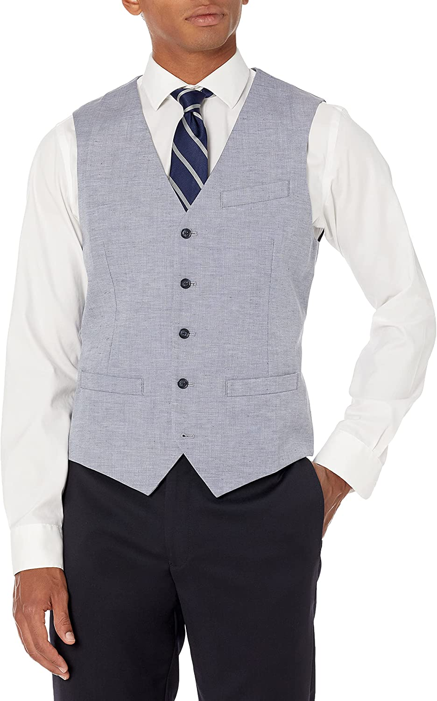 Perry Ellis mens Slim Fit Linen Blend Textured Suit Vest