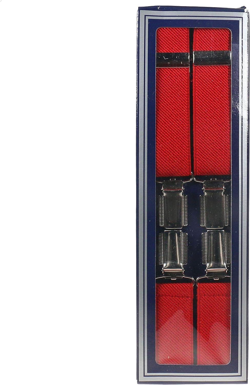 MENS RED 25MM 4 CLIP BRACES/SUSPENDERS
