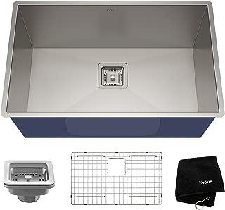 KRAUS Pax 28 1/2-inch 16 Gauge Undermount Single Bowl Stainless Steel Kitchen Sink, KHU29