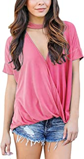 Collocation-Online Womens Short Sleeve Shirt Turtle V Neck Blouse Pleated Baggy Tops Tees