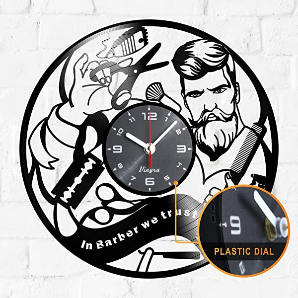 Barber Shop Design Vinyl Wall Clock Hipster Decor Hairdresser Hair Salon Scissors Vinyl Clock Decor Art Vinyl Record Clock Decorations Decor Wall Decal Art Poster Equipment In Barber We Trust Black