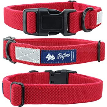 Petfino Natural Hemp Dog Collar (Leash Sold Separately) Fleece-Lined Collar with Reflective Safety Strip Soft and Strong for Small to Large Dogs/Pets Hypoallergenic Super Soft