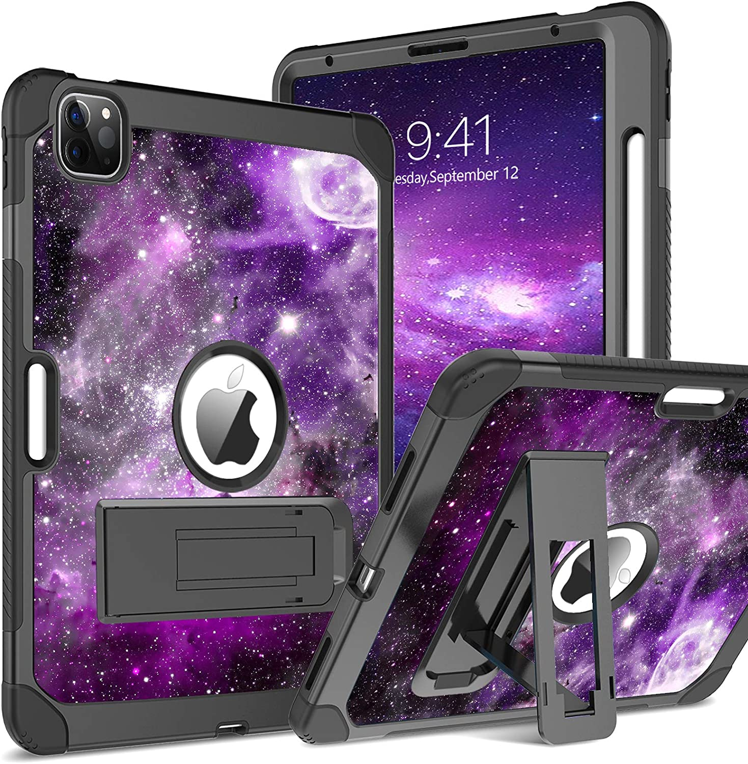 BENTOBEN New iPad Air 4 Case 2020 10.9 inch, Heavy Duty Rugged Glow in The Dark 3 in 1 Shockproof Kickstand Protective Bumper Girls Women Boy Men Tablet Cover for iPad Air 4th Gen, Space/Nebula Design