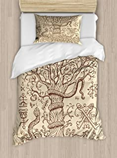 Lunarable Occult Duvet Cover Set, Cosmic Tree with Western Snakes Alchemy Gothic Medieval Illustration Print, Decorative 2 Piece Bedding Set with 1 Pillow Sham, Twin Size, Beige and Brown