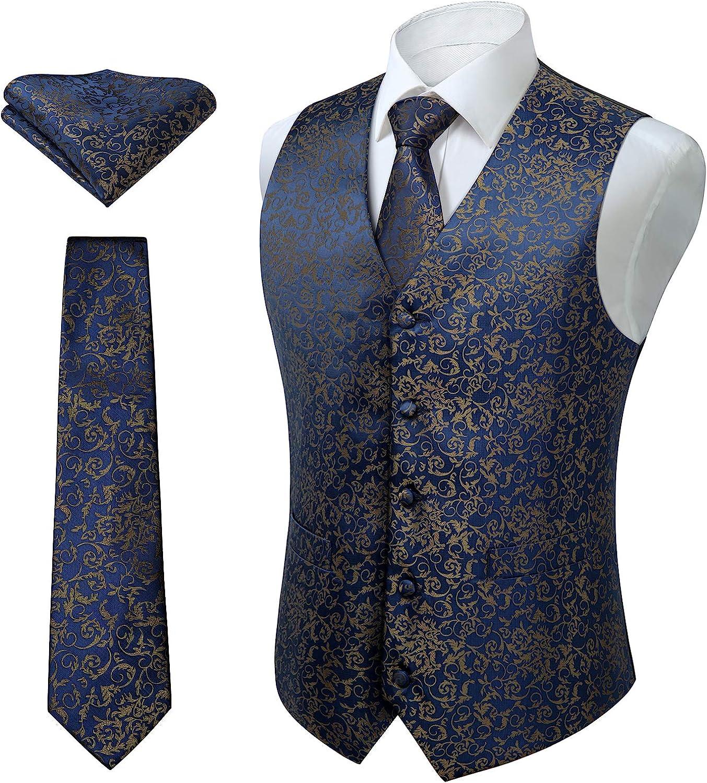 HISDERN Excellent 3pc Men's Paisley Floral Popular brand an Suit Necktie Vest Jacquard