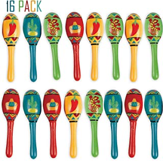 Bulk 16 Mini Wooden Maracas Mexican Fiesta Cinco de Mayo Party Favor, Great for Decorations, Noisemaker Toys, 4 Different Styles, Bright Colors, 5 Inches, For Kids, Boys, Girls, By 4E's Novelty