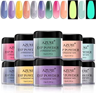 Dipping Nail Powder Set with 10 Colors Including 3 Changing and 2 Fluorescent Dip Powders Nails Set for French Nail Manicure Nail Art No UV/LED Nail Lamp Needed