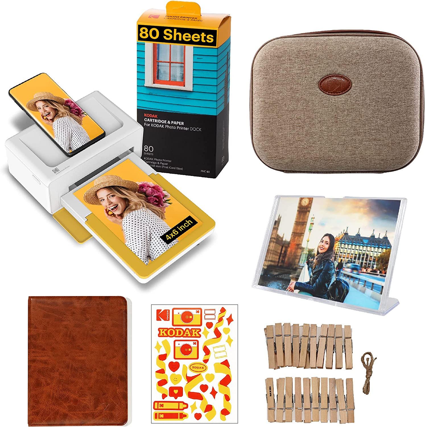 Kodak Dock Plus 4x6 Instant Photo Printer Accessory Gift Bundle – Bluetooth Portable Photo Printer Full Color Printing – Mobile App Compatible with iOS and Android – Convenient and Practical