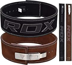 """RDX Powerlifting Belt for Weight Lifting Gym Training - Lever Buckle Leather Belt 10mm Thick 4"""" Lumbar Back Support - Great for Strongman Functional Strength, Bodybuilding, Deadlifts Workout & Squats"""