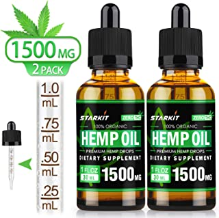 2x30ml - Hemp Oil Extract 1500mg Natural for Pain Anxiety & Stress Relief, Better Sleep, Mood Support, STARKIT Drops Rich in Fatty Acids Omega 3 6 9 from Organic Hemp Seed