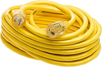 Yellow Jacket 2991 10/3 Extra Heavy-Duty 20-Amp Premium SJTW Contractor Extension Cord with Lighted T-Blade Plug, 50-Foot All Copper Wire Extension Cord, 20 Amps, 125 Volts, 2500 Watts