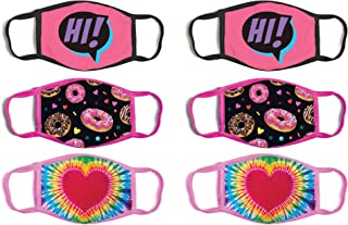 Girls' Reusable Protective Fashion Face Masks (6 Pack)
