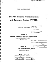 Thin-Film Personal Communications and Telemetry System /TFPCTS/ Third quarterly report, 21 Jun. - 21 Sep. 1965