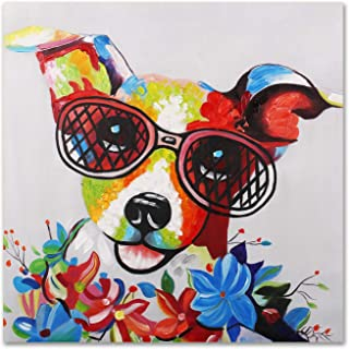 Modern Pop Art Decor - Framed - Happy Jack Russell Terrier with Glasses Animal Wall Art Canvas Print Home Decor Wall Art, Gallery Wrap Inner Frame, 24x24