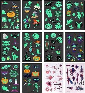 تاتوهای هالووین ، 12 برگ (122 عدد) برچسب های هالووین در تاتو موقت تیره برچسب های خال کوبی صورت خونین برای لوازم آرایش با تزیین هالووین کدو تنبل ، خفاش ، جادوگر ، شبح هالووین