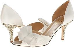 Ivory Satin/Gold Glitter Heel