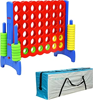 UNICOO - Giant 4 in a Row Game, Jumbo 4-to-Score Giant Game Set, Backyard Games for Kids, Indoor or Outdoor Game, Adult and Family Fun Game, 4 Ft Tall with Carry and Storage Bag – Red and Blue