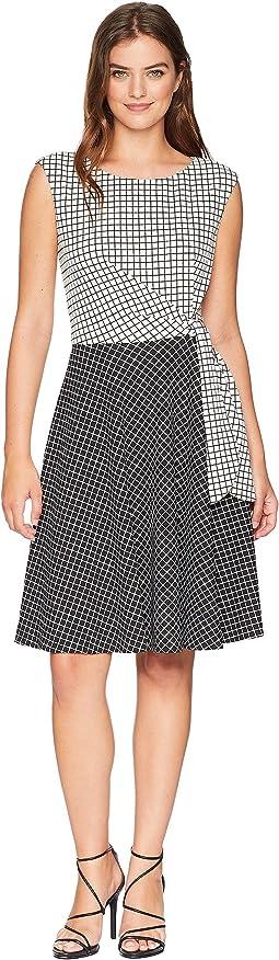 Grid Pattern Side Tie Dress