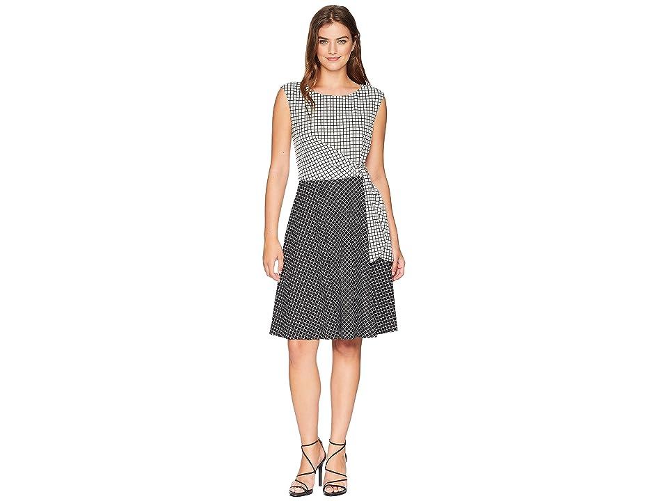 Tahari by ASL Grid Pattern Side Tie Dress (Black/White) Women