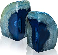Geode Bookends 1 Pair 6-9 lbs (Dyed Blue)| Stone Bookends for Light and Heavy Books | Unique Brazilian Crystal Book Ends in Agate Stone to Hold Books, geode Decor and Paperweight | 3 Colors Available