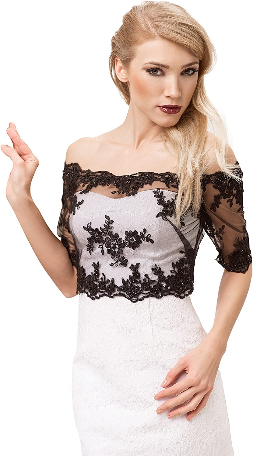 OssaFashion BridalWear Womens Evening Party Black Lace Corset Bolero Jacket Half Length Sleeves