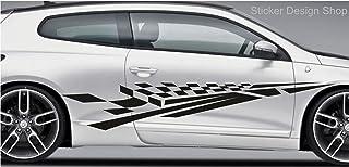 2er Set Racing Seiten Streifen Autoaufkleber Sport Auto Tattoo Aufkleber Sticker Tuning M3 (100 cm)