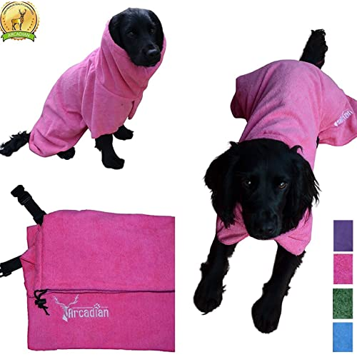 794d729324 Arcadian Dog Bathrobes. Perfect Microfibre Towelling Robe for Drying Coats