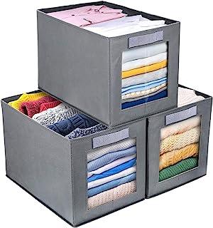 DIMJ Lot de 3 Boîtes de Rangement Pliable avec Fenêtre Transparente Boîte de Rangement Pliable avec Passant pour Garde-rob...
