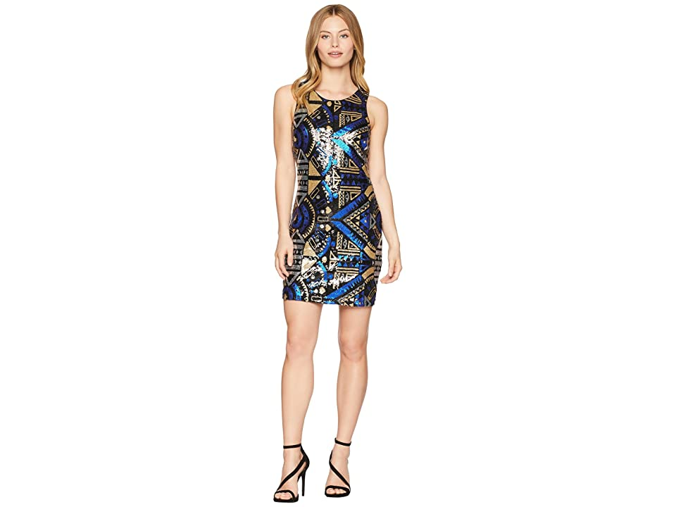ROMEO & JULIET COUTURE Abstract Pattern Sequin Dress (Black Multi) Women