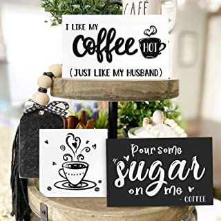 Huray Rayho Coffee Tiered Tray Decor Rustic Coffee Bar Signs Farmhouse Rae Dunn for Fun Kitchen Collection Coffee Station ...