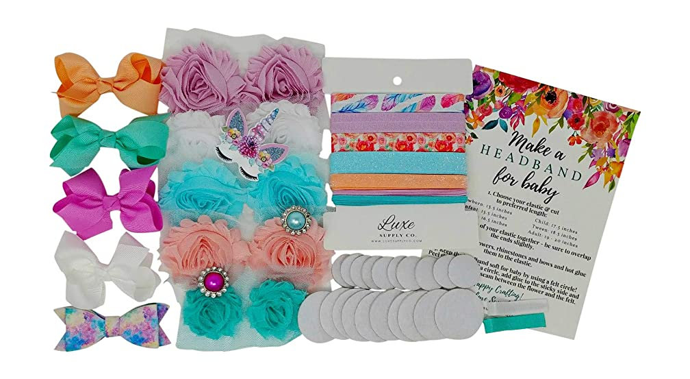 Colors of The Wind - Shabby Chic DIY Headband Kit - Makes 8 Headbands and 2 Clips! - Unicorn Applique - Luxe Shabby Trim - Bridal Shower Activity - Birthday Party