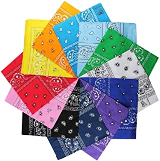 L&M 12Pcs Bandanas 100% Cotton Paisley Print Head Wrap Scarf Wristband