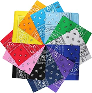 12Pcs Bandanas 100% Cotton Paisley Print Head Wrap Scarf Wristband