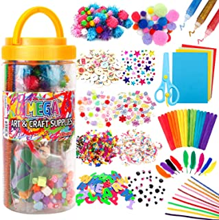 Mega Kids Art Supplies Jar – Over 700 Pieces of Colorful and Creative Arts and Crafts Materials - Glue, Safety Scissors, P...