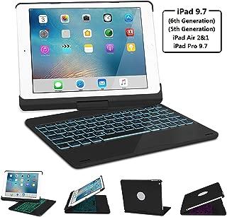 Keyboard Case for iPad 2017/2018 New iPad 9.7(5th, 6th), iPad pro 9.7, iPad Air, iPad Air 2, SENGBIRCH 7 Colors Backlit/Wireless Bluetooth/Folio Smart 360 Rotate/Auto Wake and Sleep, Black
