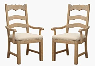 Emerald Home Barcelona Rustic Pine and Beige Dining Chair with Curved Arms, Upholstered Seat, And Nailhead Trim, Set of Two