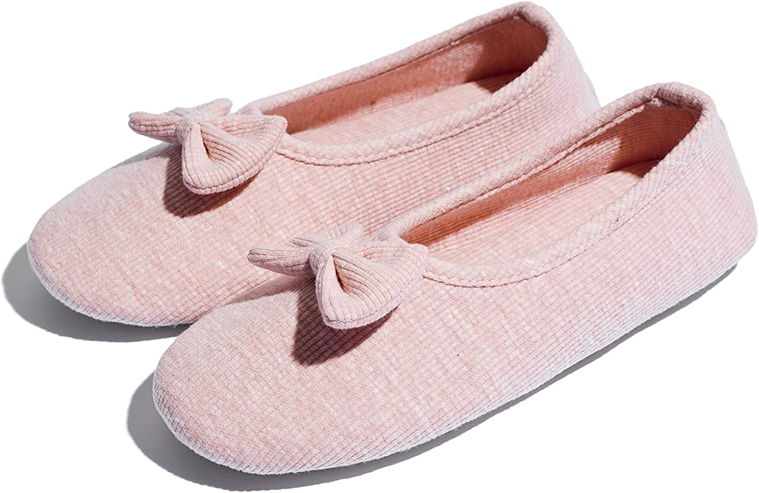 Flipped Women Comfortable Slippers Lightweight Soft Indoor House shoes with Non-Slip Out Sole Bowknot