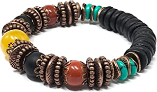 Jamaican Rasta Jewelry 6 inches to 6.5 inches Stretch Bracelet for Women Men