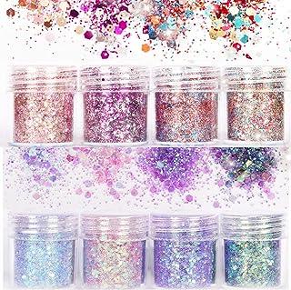 8 Pcs Beauty Nail Glitter Powder Nail Decoration 3D Mixed Holographic Chrome Pigment Glitters Powder Tips Nail Art Decoration