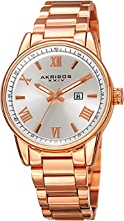 Akribos XXIV Stainless Steel Bracelet Watch - Classy Easy to Read with Date Window - Radiant Sunray Dial, Roman Numeral Ho...
