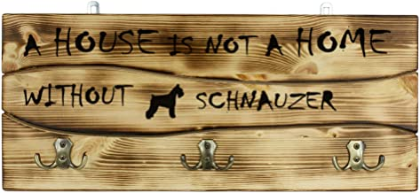 Schnauzer, a Wooden Wall peg, Hanger with The Picture of a Dog